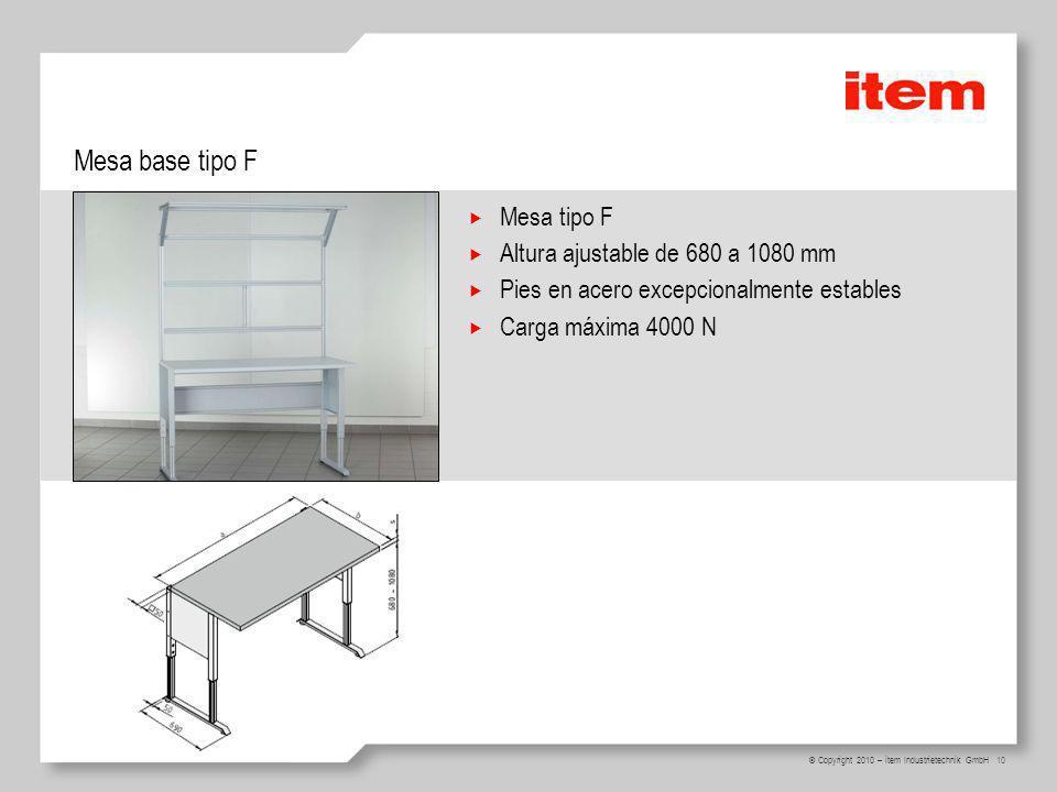 Mesa base tipo F Mesa tipo F Altura ajustable de 680 a 1080 mm