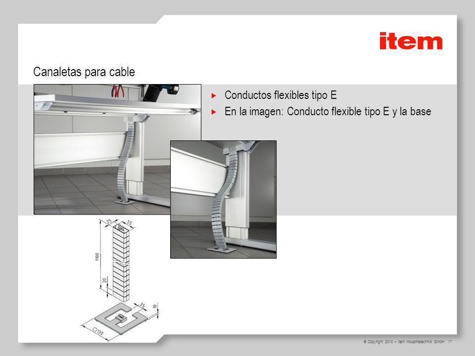 Canaletas para cable Conductos flexibles tipo E