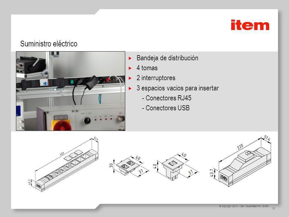 Suministro eléctrico Bandeja de distribución 4 tomas 2 interruptores