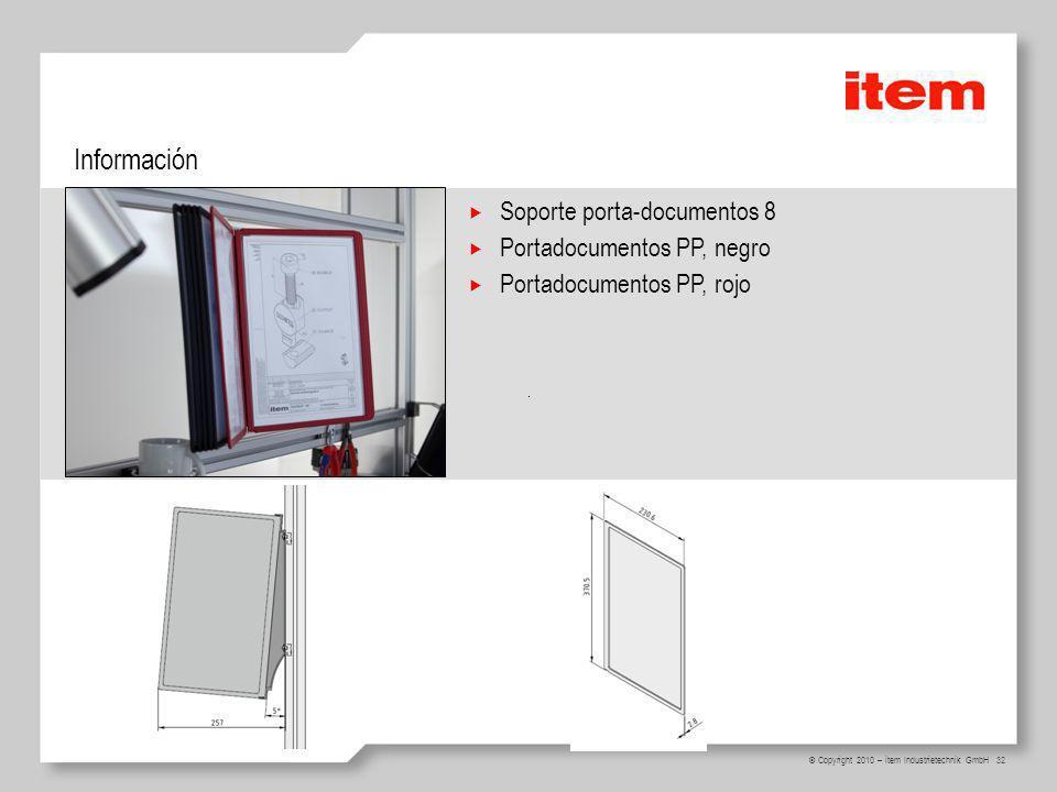 Información Soporte porta-documentos 8 Portadocumentos PP, negro