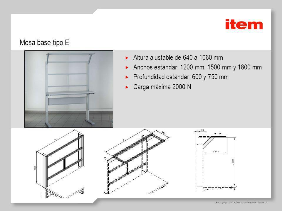 Mesa base tipo E Altura ajustable de 640 a 1060 mm