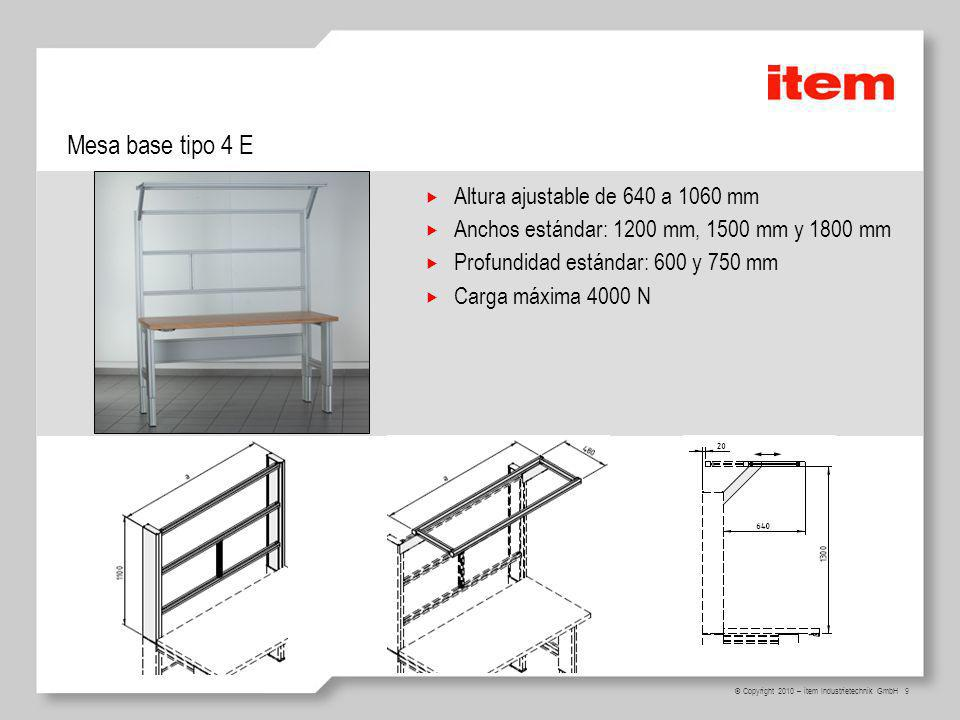 Mesa base tipo 4 E Altura ajustable de 640 a 1060 mm