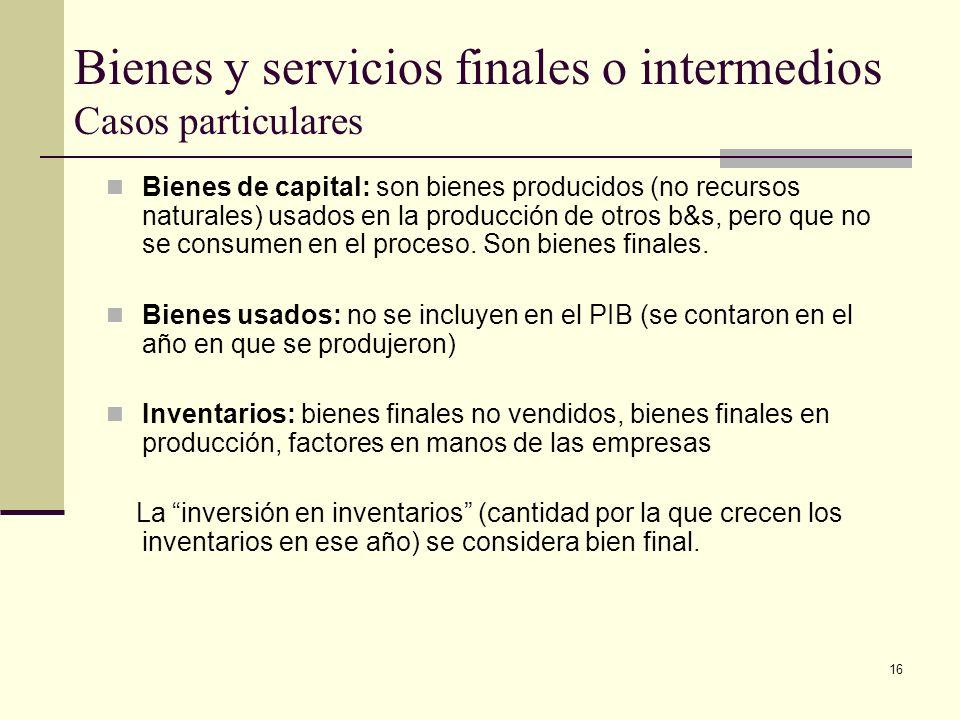 Bienes y servicios finales o intermedios Casos particulares