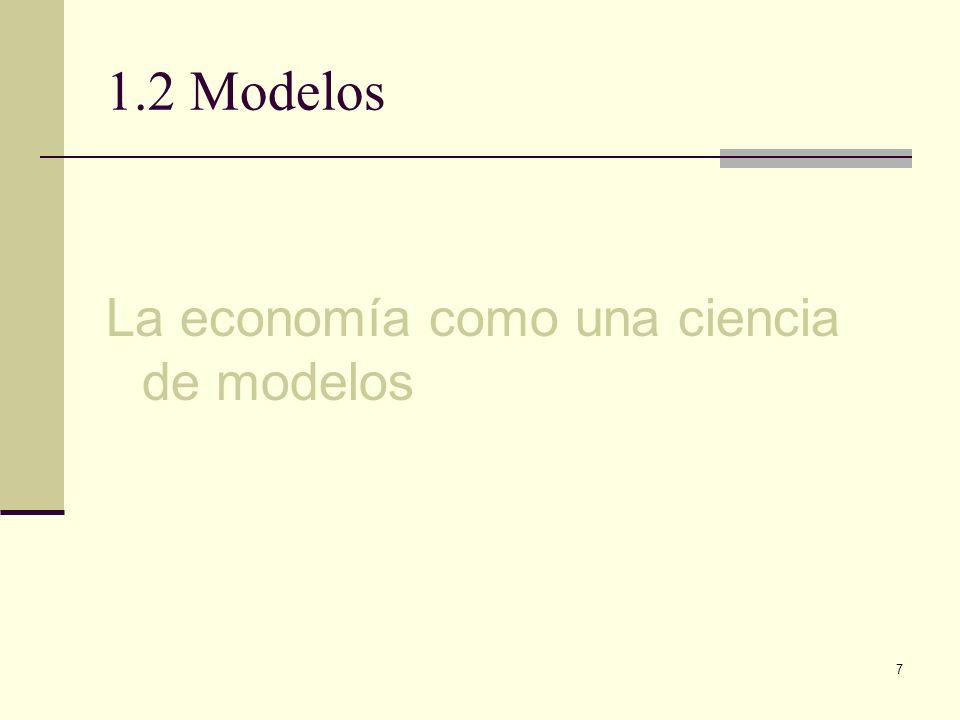 1.2 Modelos La economía como una ciencia de modelos