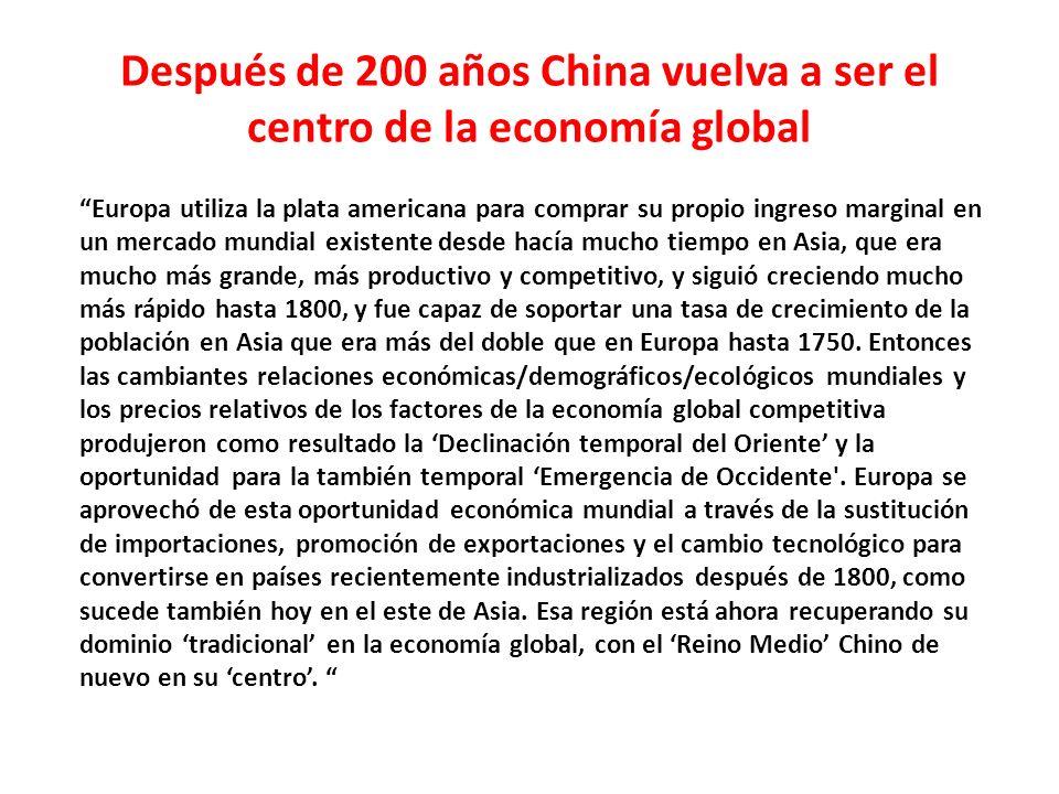Después de 200 años China vuelva a ser el centro de la economía global