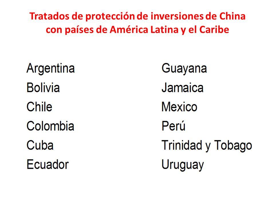 Tratados de protección de inversiones de China con países de América Latina y el Caribe