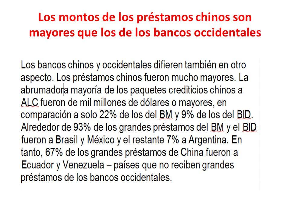 Los montos de los préstamos chinos son mayores que los de los bancos occidentales