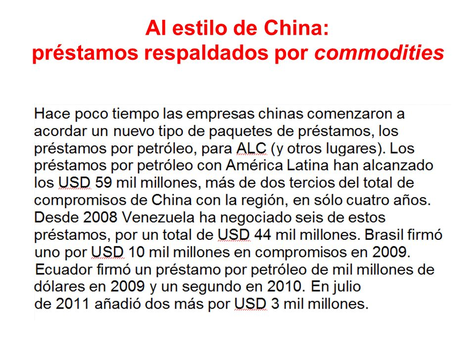 Al estilo de China: préstamos respaldados por commodities