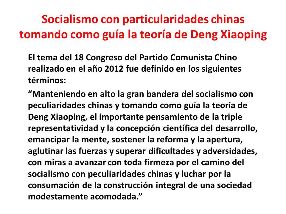 Socialismo con particularidades chinas tomando como guía la teoría de Deng Xiaoping