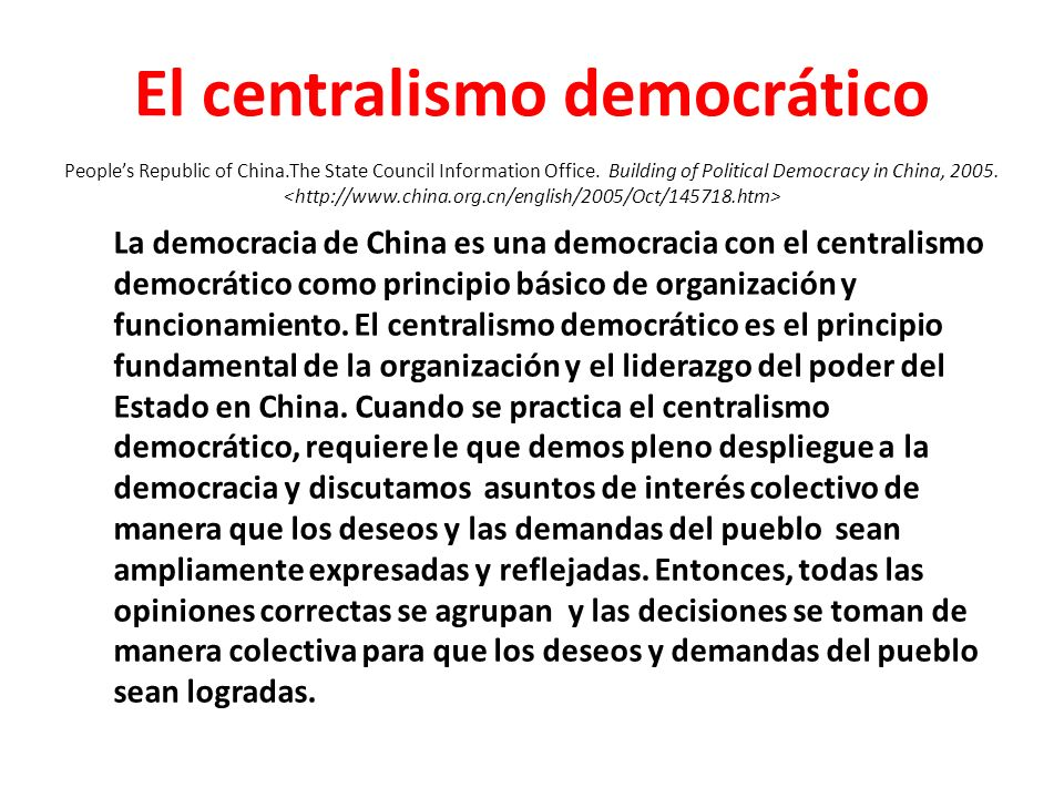 El centralismo democrático People's Republic of China