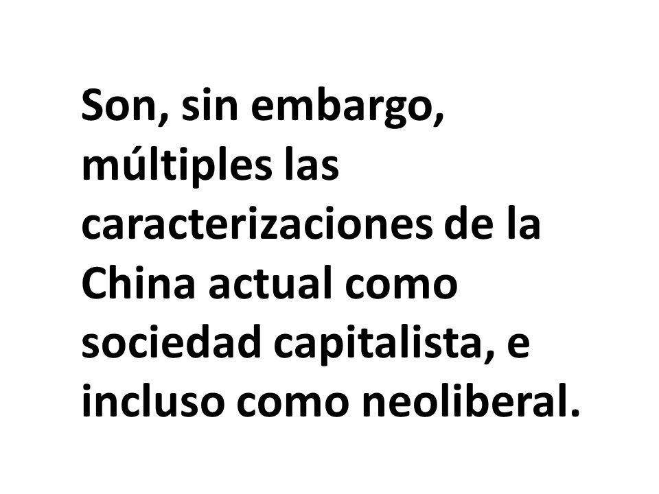 Son, sin embargo, múltiples las caracterizaciones de la China actual como sociedad capitalista, e incluso como neoliberal.