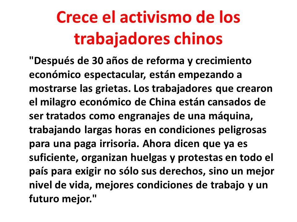 Crece el activismo de los trabajadores chinos
