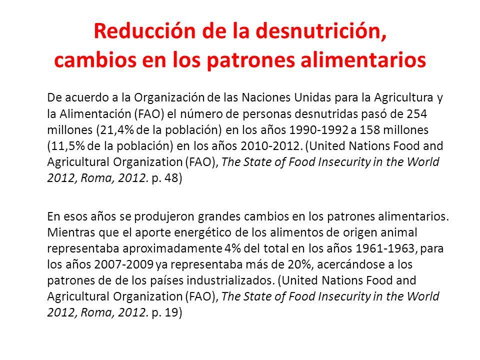 Reducción de la desnutrición, cambios en los patrones alimentarios