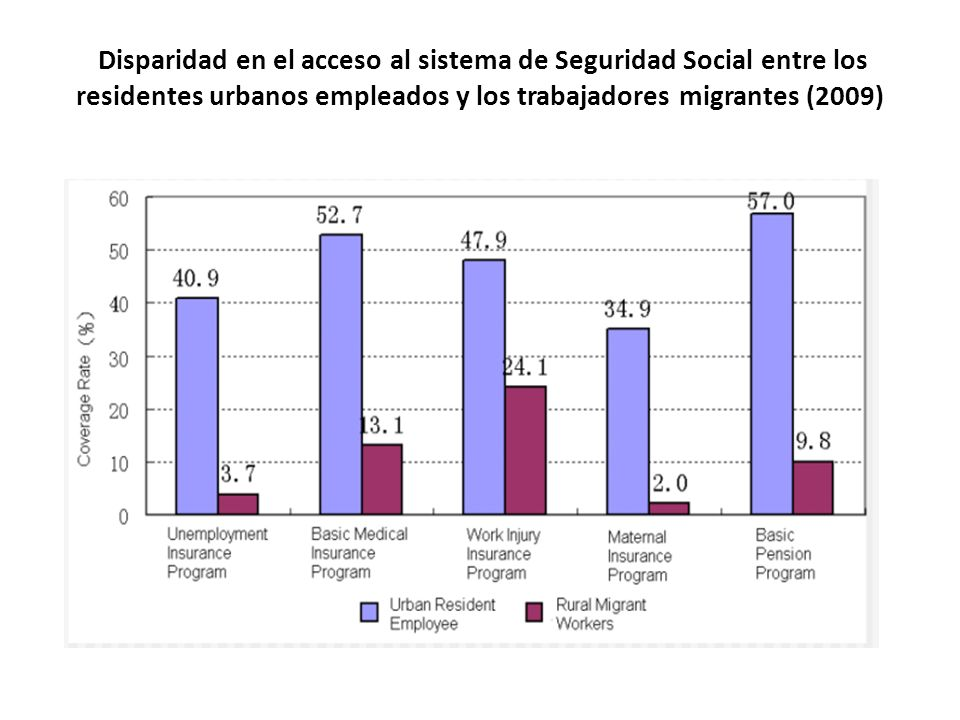 Disparidad en el acceso al sistema de Seguridad Social entre los residentes urbanos empleados y los trabajadores migrantes (2009)