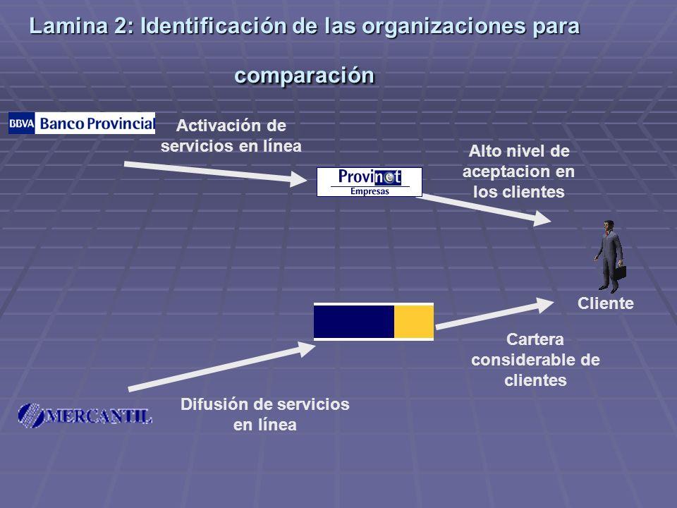 Lamina 2: Identificación de las organizaciones para comparación