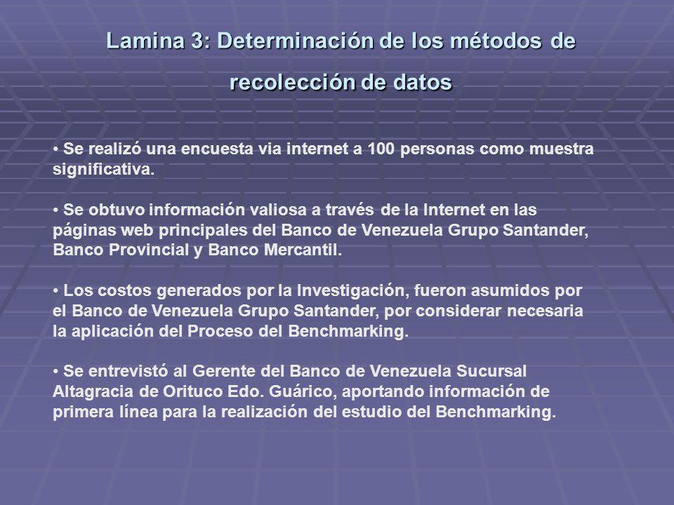 Lamina 3: Determinación de los métodos de recolección de datos