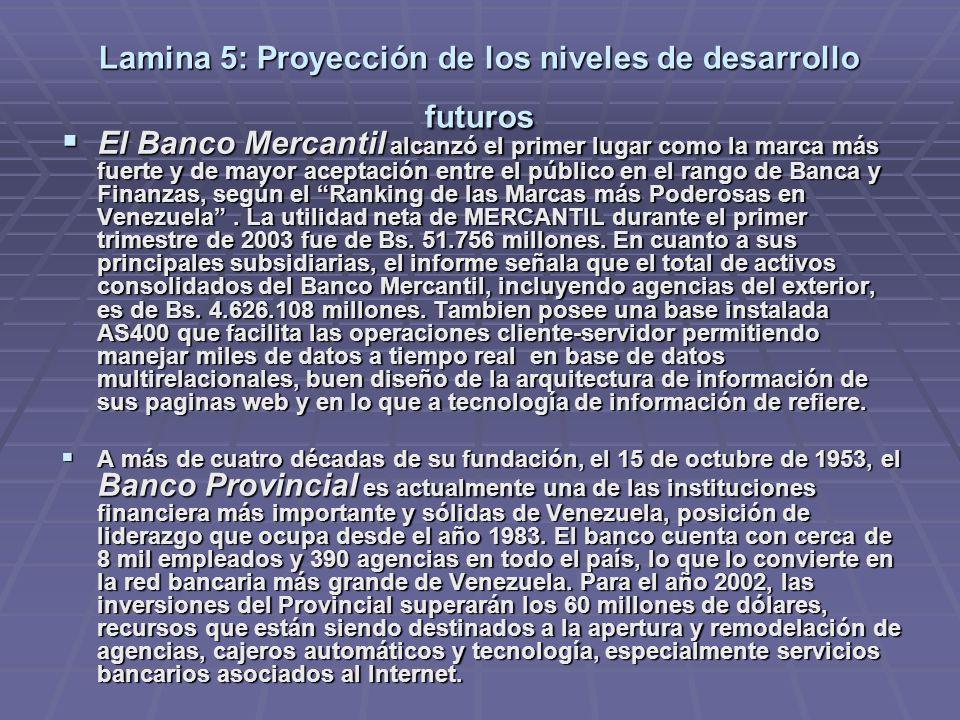 Lamina 5: Proyección de los niveles de desarrollo futuros