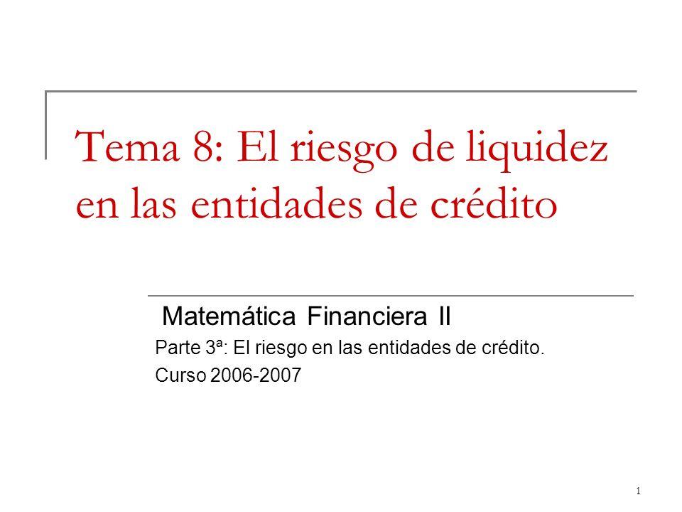 Tema 8: El riesgo de liquidez en las entidades de crédito