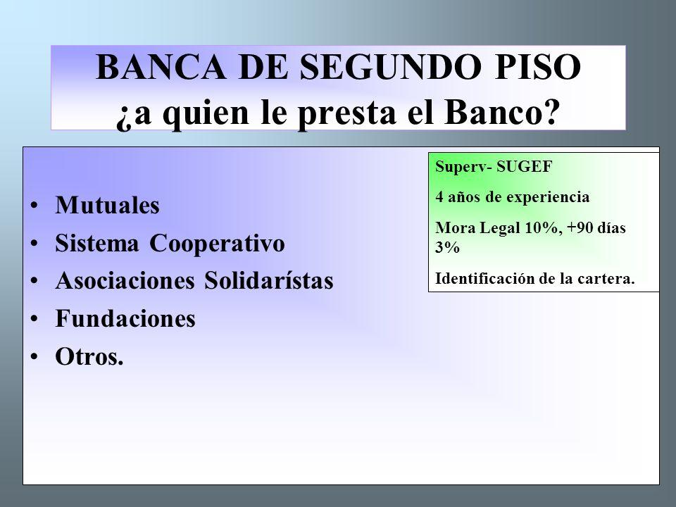 BANCA DE SEGUNDO PISO ¿a quien le presta el Banco