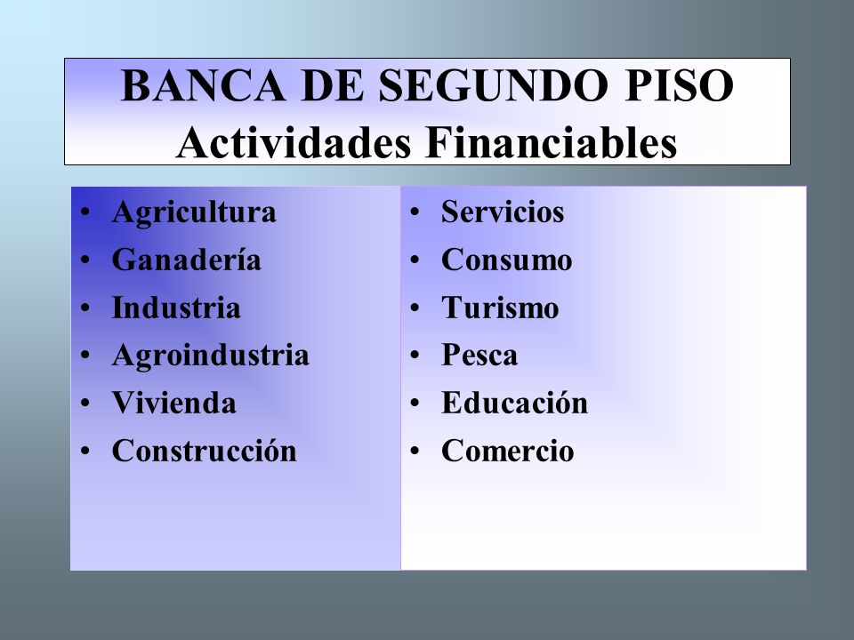 BANCA DE SEGUNDO PISO Actividades Financiables