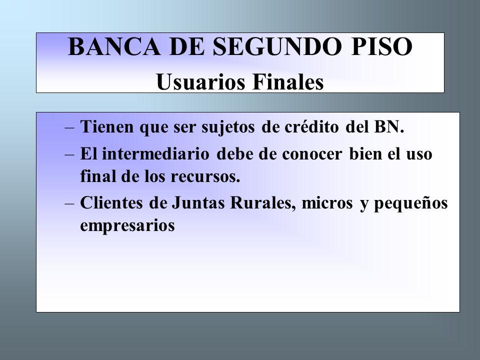 BANCA DE SEGUNDO PISO Usuarios Finales