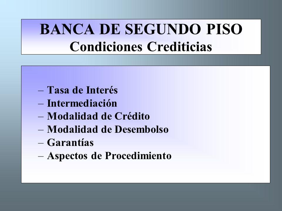 BANCA DE SEGUNDO PISO Condiciones Crediticias