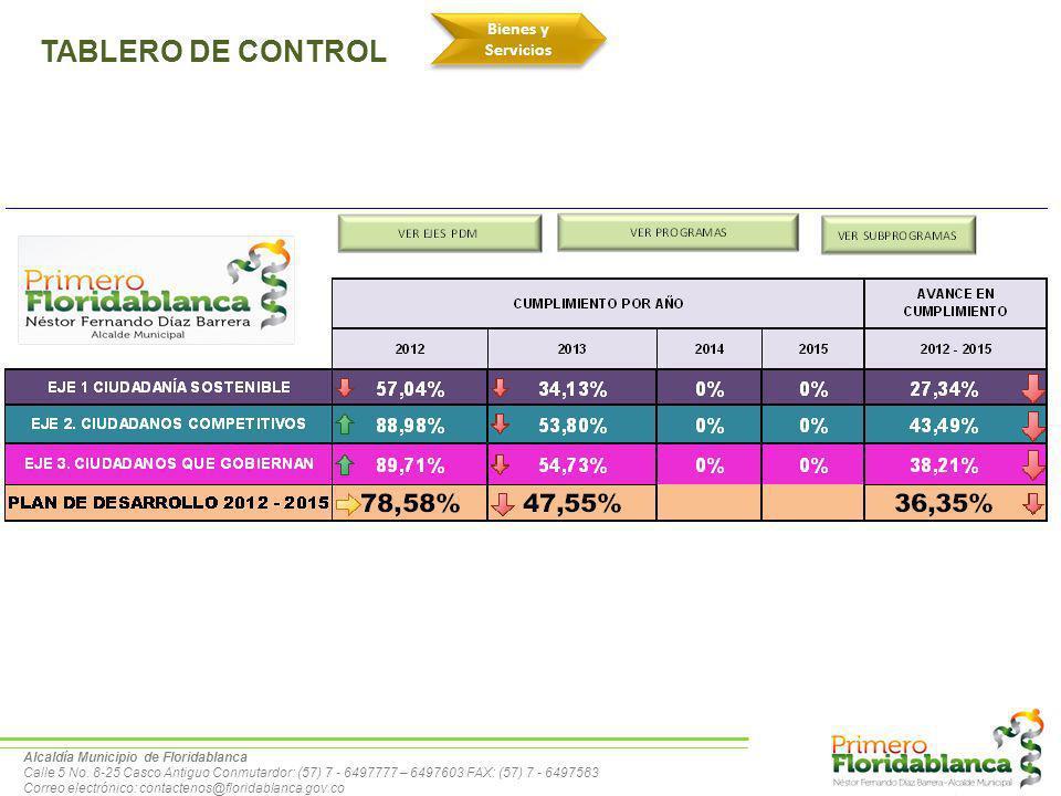 TABLERO DE CONTROL Bienes y Servicios