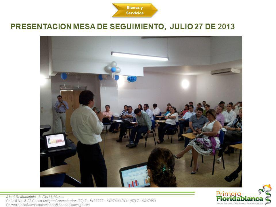 PRESENTACION MESA DE SEGUIMIENTO, JULIO 27 DE 2013