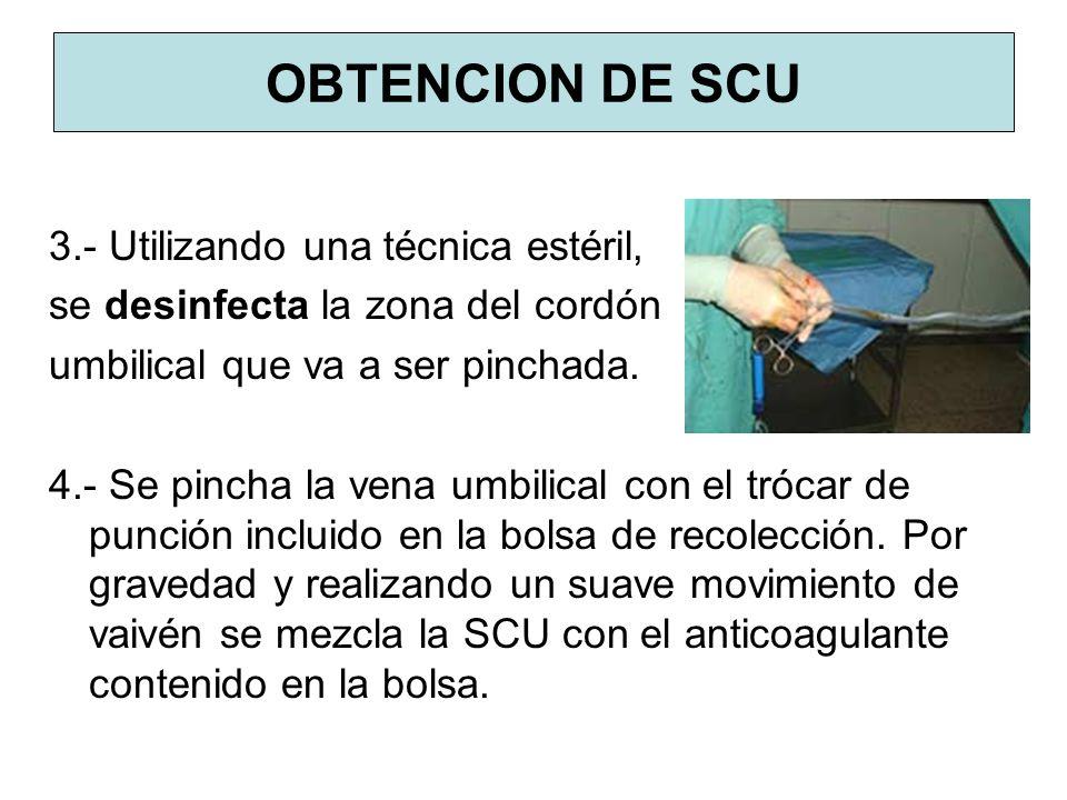OBTENCION DE SCU 3.- Utilizando una técnica estéril,