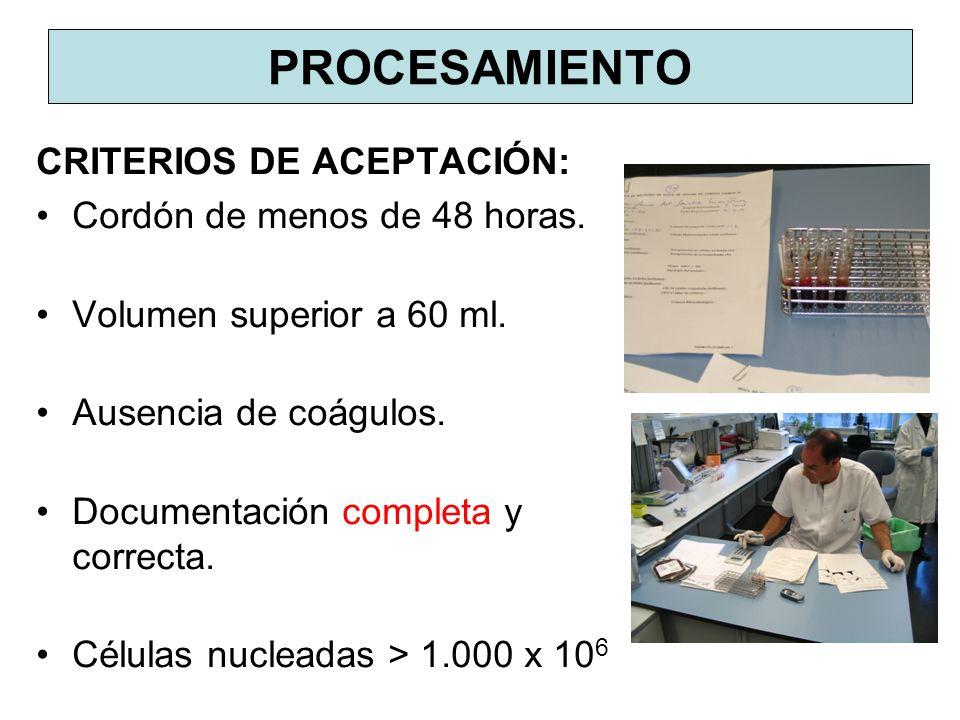 PROCESAMIENTO CRITERIOS DE ACEPTACIÓN: Cordón de menos de 48 horas.