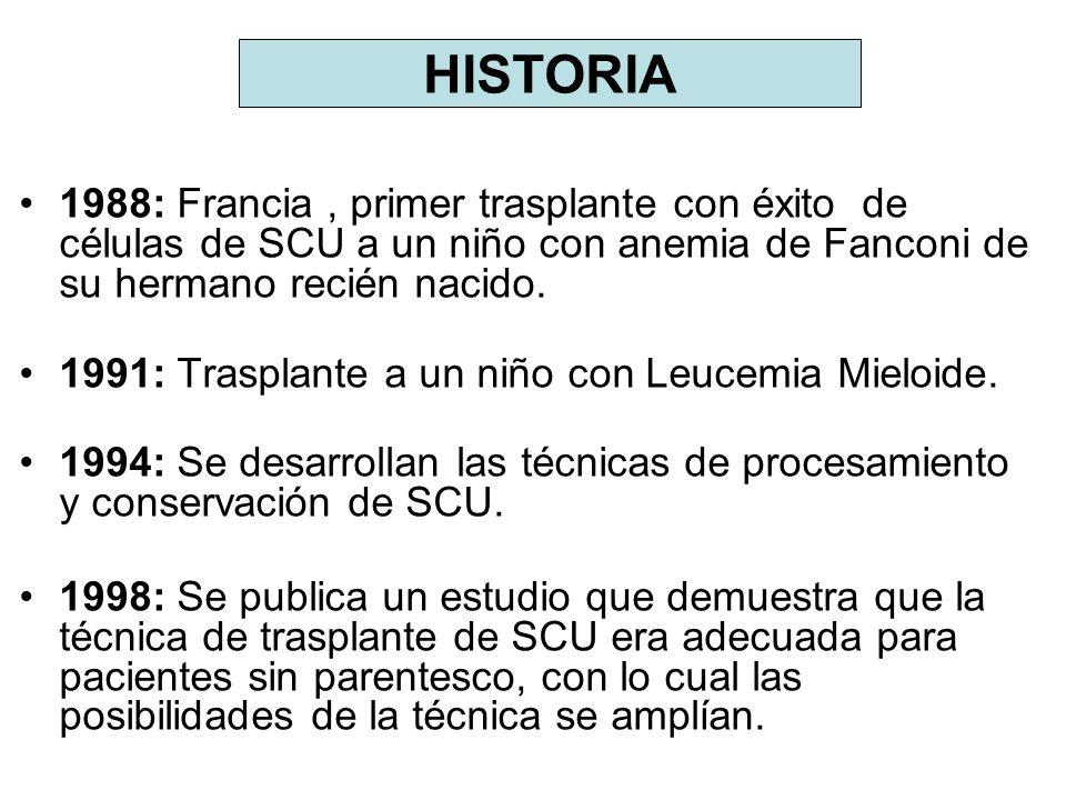 HISTORIA 1988: Francia , primer trasplante con éxito de células de SCU a un niño con anemia de Fanconi de su hermano recién nacido.