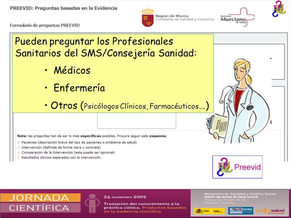 Pueden preguntar los Profesionales Sanitarios del SMS/Consejería Sanidad: