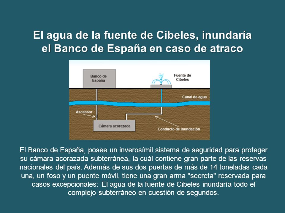 El agua de la fuente de Cibeles, inundaría el Banco de España en caso de atraco