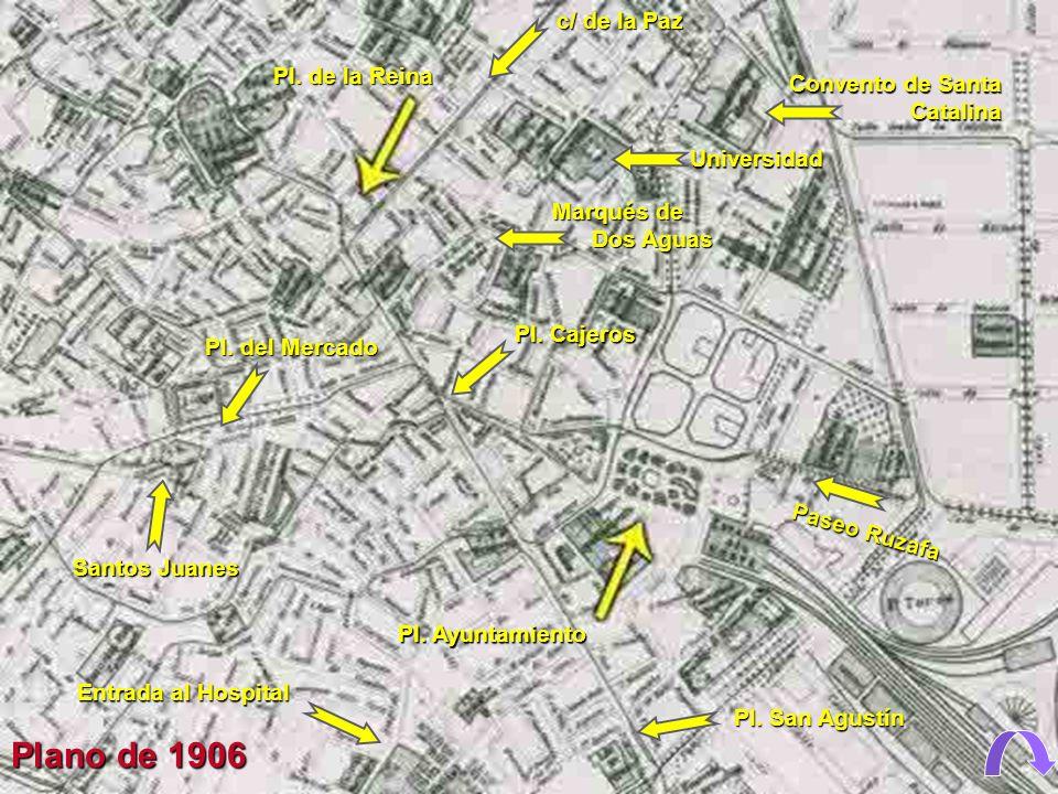 Plano de 1906 c/ de la Paz Pl. de la Reina Convento de Santa Catalina