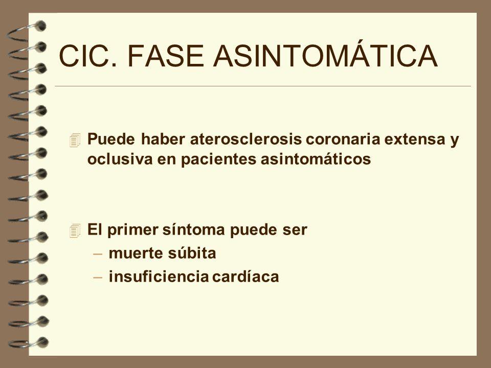 CIC. FASE ASINTOMÁTICAPuede haber aterosclerosis coronaria extensa y oclusiva en pacientes asintomáticos.