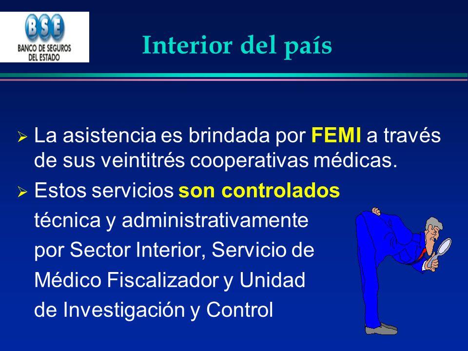 Interior del país La asistencia es brindada por FEMI a través de sus veintitrés cooperativas médicas.