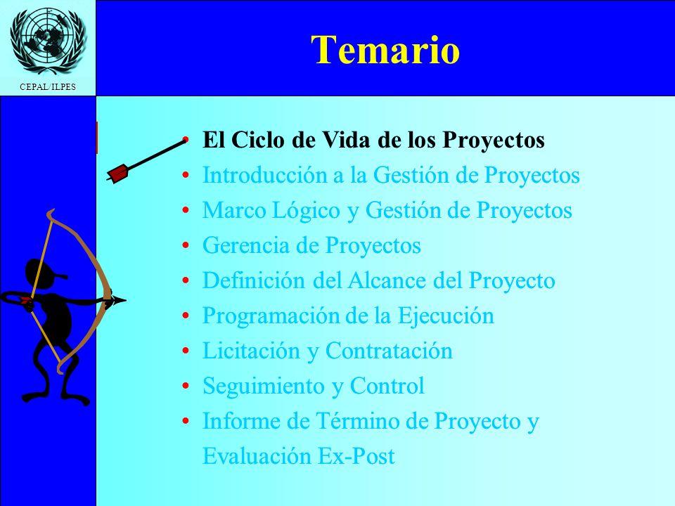 Temario El Ciclo de Vida de los Proyectos
