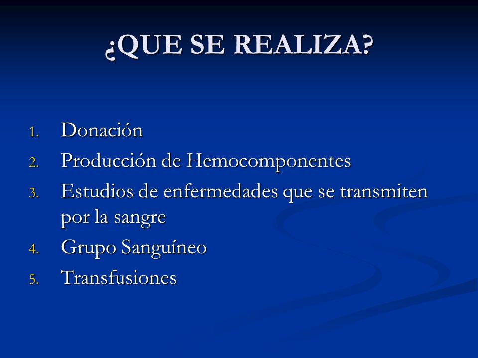 ¿QUE SE REALIZA Donación Producción de Hemocomponentes