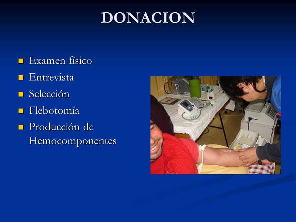 DONACION Examen físico Entrevista Selección Flebotomía