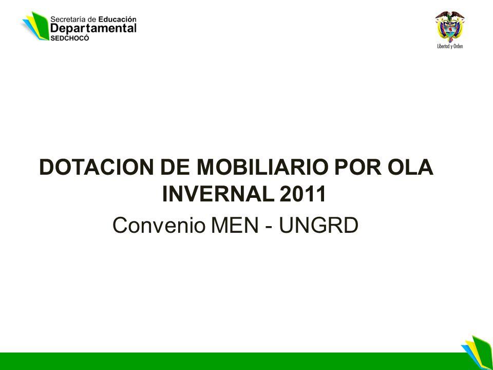 DOTACION DE MOBILIARIO POR OLA INVERNAL 2011 Convenio MEN - UNGRD