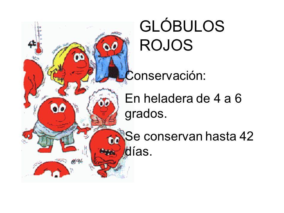 GLÓBULOS ROJOS Conservación: En heladera de 4 a 6 grados.