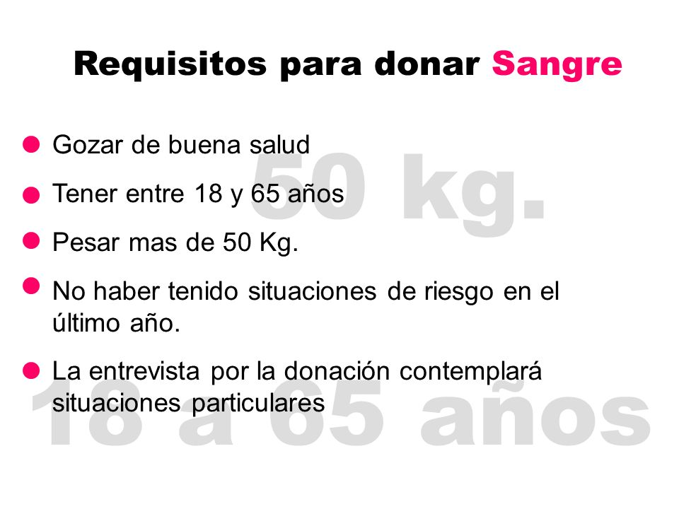 Requisitos para donar Sangre