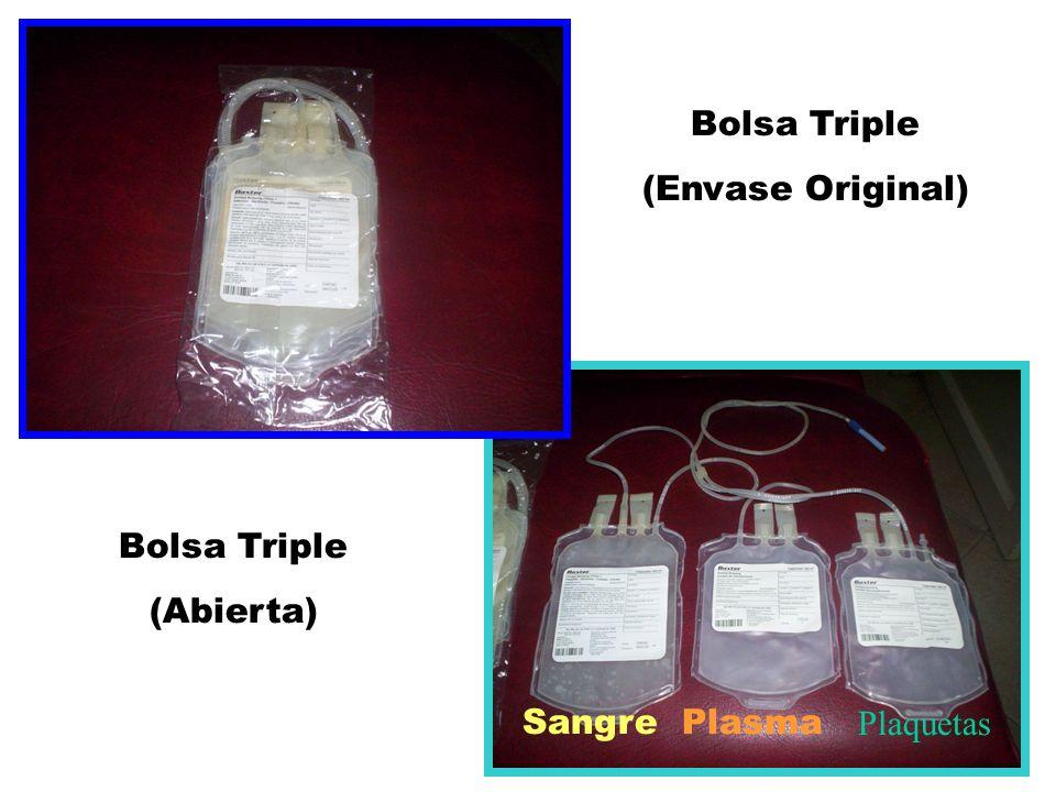 Bolsa Triple (Envase Original) Bolsa Triple (Abierta) Sangre Plasma Plaquetas