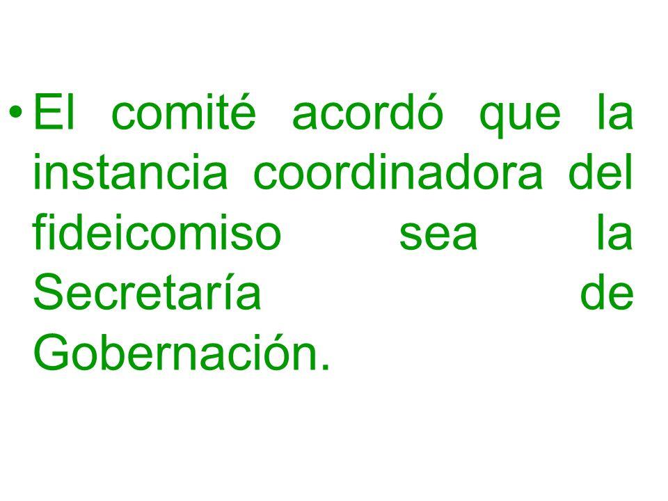 El comité acordó que la instancia coordinadora del fideicomiso sea la Secretaría de Gobernación.