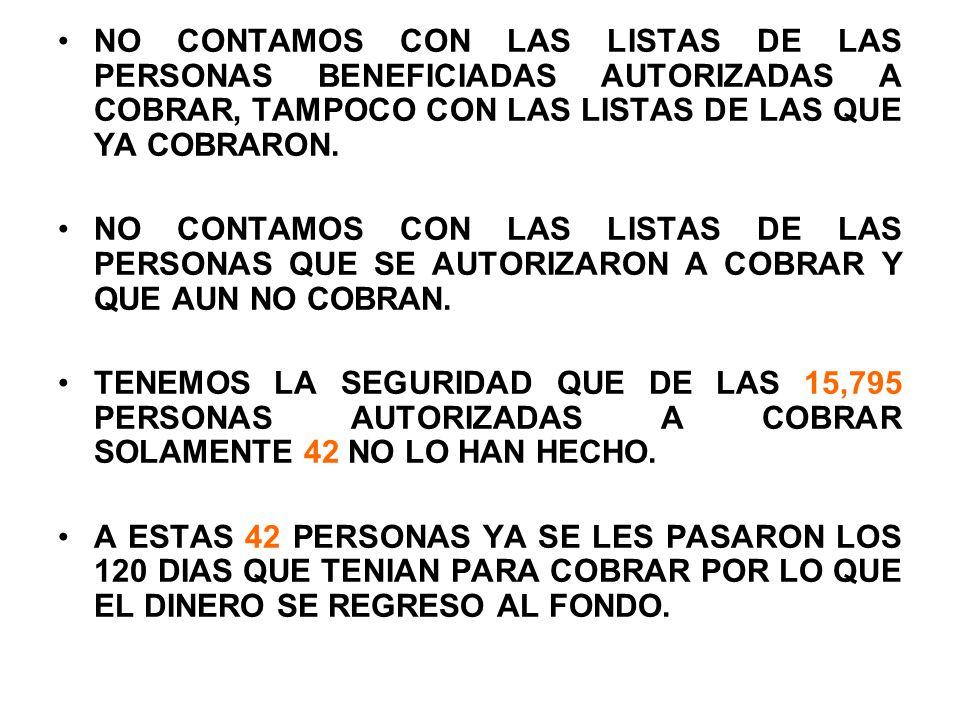 NO CONTAMOS CON LAS LISTAS DE LAS PERSONAS BENEFICIADAS AUTORIZADAS A COBRAR, TAMPOCO CON LAS LISTAS DE LAS QUE YA COBRARON.