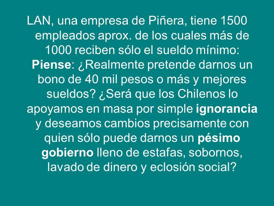 LAN, una empresa de Piñera, tiene 1500 empleados aprox