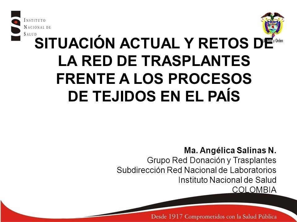 SITUACIÓN ACTUAL Y RETOS DE LA RED DE TRASPLANTES FRENTE A LOS PROCESOS DE TEJIDOS EN EL PAÍS