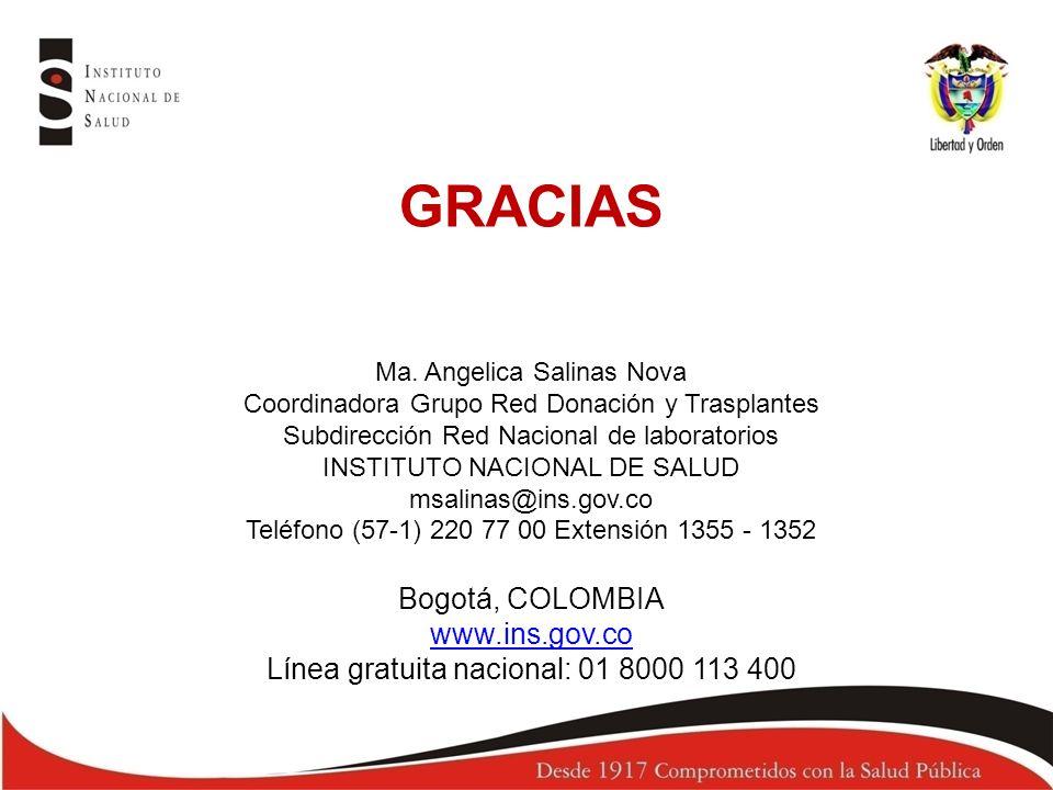 Gracias Bogotá, COLOMBIA www.ins.gov.co