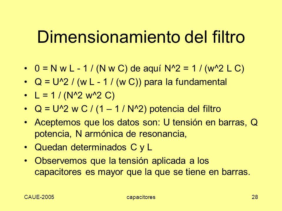 Dimensionamiento del filtro