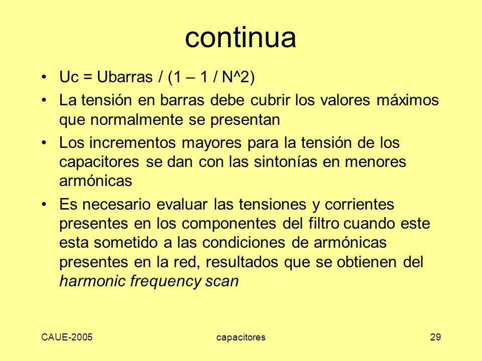 continua Uc = Ubarras / (1 – 1 / N^2)